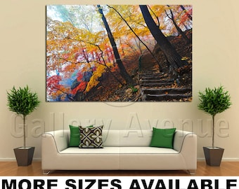 Wall Art Giclee Canvas Picture Print Gallery Wrap Ready to Hang Autumn Trees Orange 60x40 48x32 36x24 24x16 18x12 3.2