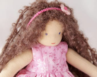 Waldorf inspired  doll 8 inch (21 cm) small little tiny waldorf doll steiner handmade cloth pocket rag cloth doll toy