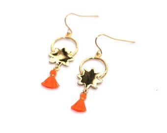 Gold plated Sun coral tassel earrings