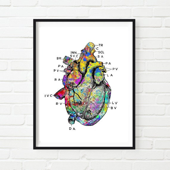 Heart Print Printable Vintage Heart Art Print Heart Art Medical