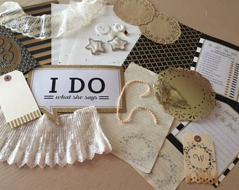 "Journal, Scrapbook, Junk Journal Accessory Kit ""WEDDING"" (26 Pieces)"