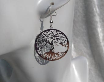 Earrings with tree of life metal