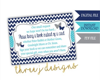 Butterfly Baby Shower Books for Baby Cards - INSTANT DOWNLOAD - Navy Blue, Teal and Gray - Digital File - J007