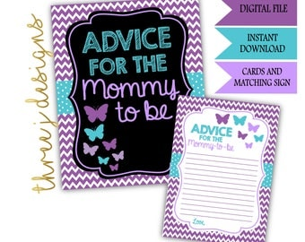 Butterfly Baby Shower Advice for the Mommy To Be Cards and Sign - INSTANT DOWNLOAD - Purple and Teal - Digital File - J001