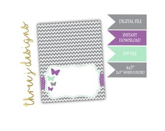 Butterfly Baby Shower Food Tent Cards - INSTANT DOWNLOAD - Gray, Lavender and Mint - Digital File - J005