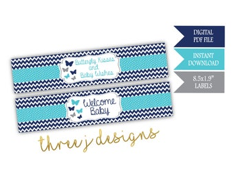 Butterfly Baby Shower Water Bottle Labels - INSTANT DOWNLOAD - Navy Blue, Teal and Gray - Digital File - J007