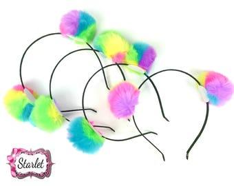 Rainbow Pom Pom Headband, Hair Accessories, Girl's Headband