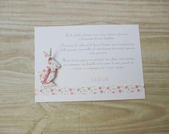 Thank you card - baptism pink liberty origami rabbit hand made product handmade