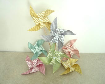 6 spikes multicolored chevron and polka dot pinwheels (gray, pink, mint green, green lime, melon, mustard yellow)