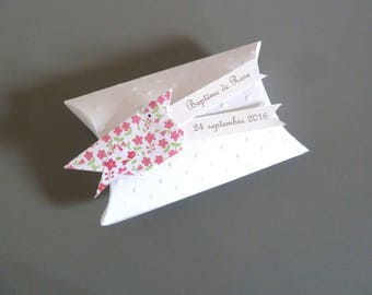 Baptism favors box girl + bird origami paper rose liberty - thank you gift guests birthday, christening, wedding