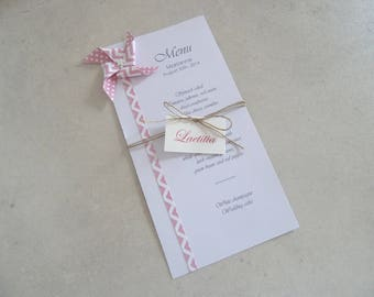 Menu and make up windmill origami patterned dots pink chevron for wedding table decoration - christening