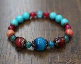 Gemstone bracelet, mix natural stone
