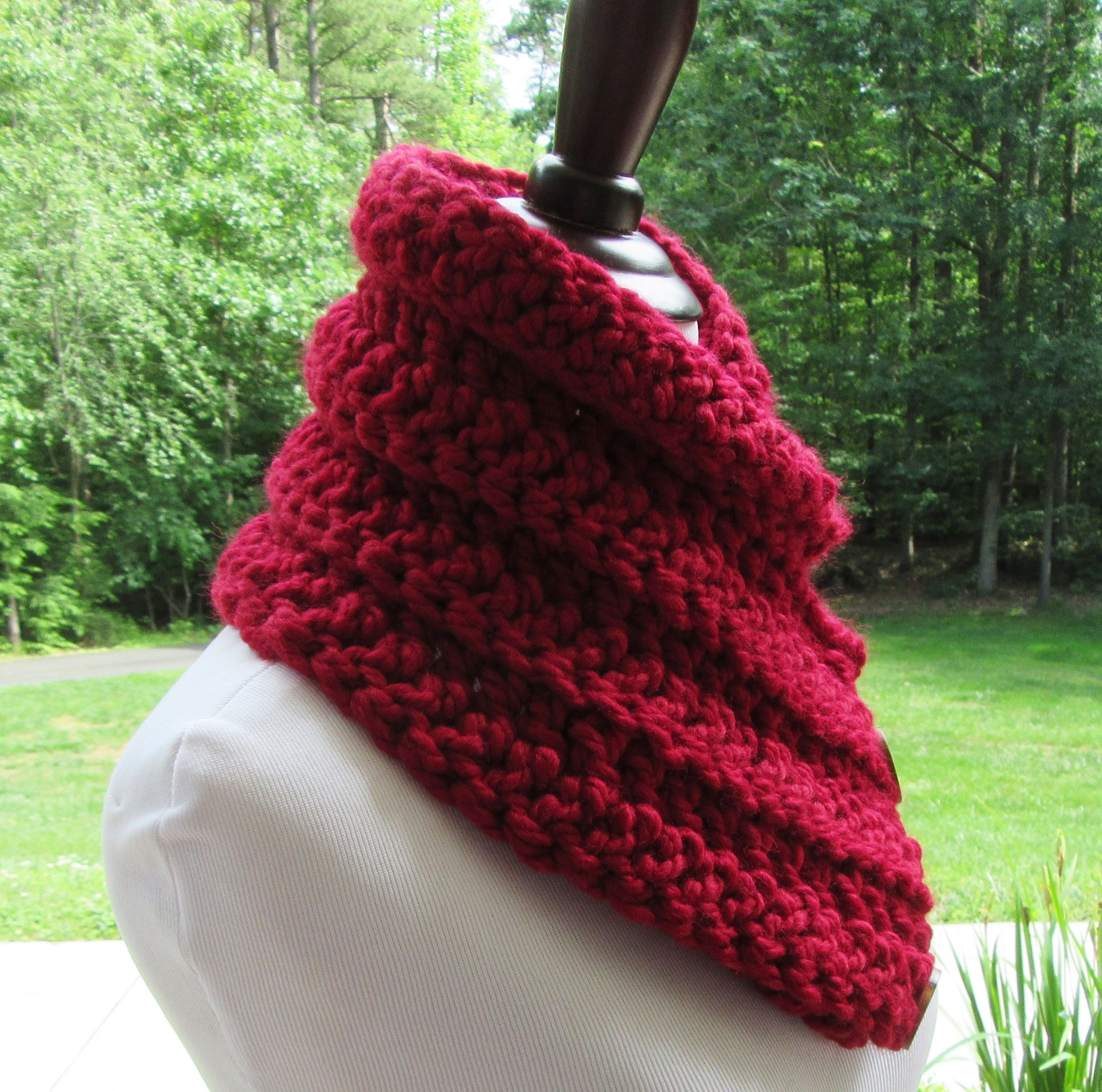 Chunky Red Cowl, Boston Harbor Scarf, Crochet Red Scarf, Red Button ...