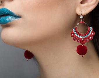Red Hoop Earrings, Delicate Earrings, Gypsy Style Jewelry, Bohemian Earrings, Dangle Earrings, Trendy Earrings, Chandelier Earrings