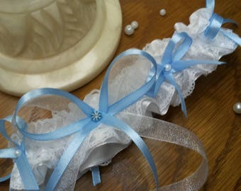Light blue and white lace wedding garter