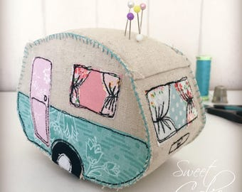 Vintage caravan camper pincushion pattern, freemotion embroidery and hand stitching, appliqué