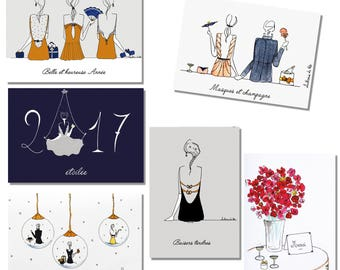 Lot six jolies cartes de Fête