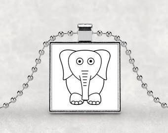 Elephant pendant, white elephant, gag gift, funny necklace, silver necklace, cute elephant, sarcasm, white elephant gift, office party gift