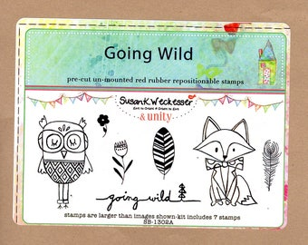 Going Wild Rubber Stamp Set, includes friends Owl and Fox, 2 Feathers, 2 Flowers & sentiment. New unmounted Unity Stamps, Susan K Weckesser