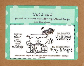 Owl I want Rubber Stamp Set - Unity Stamps & Artist Lisa Arana - Cute Owl Surrounded with Christmas Presents, Pine Branch, Bird, Star, Words