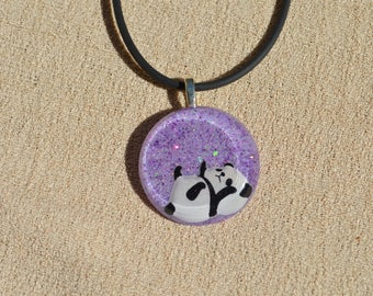 Small Purple Panda Necklace, Resin Jewelry