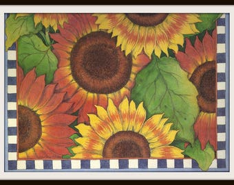 Sunflowers Calendar Print #11 (1997): Frameable Wall Art, Flower Picture, Floral Illustration, Orange Yellow Brown, Blue White Check, Rustic