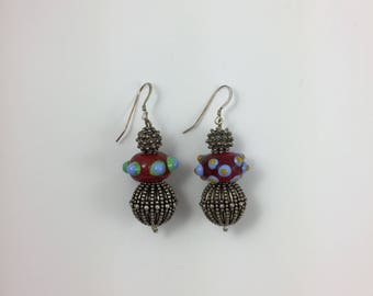 Glass & Silver Bead Earrings by Pottery Lovely