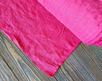 Bright pink linen fabric by the meter, softened hot rosy pink fuscia linen fabric, washed stonewashed pink linen fabric by the yard 7oz
