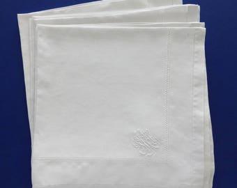 """11 Vintage 25"""" x 25"""" Monogrammed White Linen Dinner Napkins Drawnwork"""