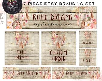 Etsy Shop Banner Set-Boho Etsy Shop Set-Etsy Branding-Dreamcatcher Banner Set