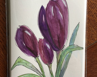 Crocus/Handpainted/Handmade Watercolor Greeting Card
