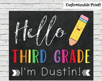 First Day of Third Grade Sign, Hello Third Grade, First Day of School Sign, Printable Chalkboard Sign, Third Grade Sign, Instant Download