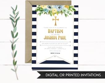 Baptism Invitation, Christening Invitation, Boy Baptism Invitation, Invitation Baptism, Baptism Invitation Boy, Blue Baptism Invitation