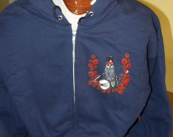 Jerry Garcia Acoustic Band zip up Hoodie. Blue Yodel #9