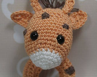 Baby rattle, Greifring, cute giraffe Amigurumi, manual work