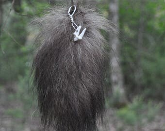 REAL   black wolf  1/4 tail; wolf tail-tip