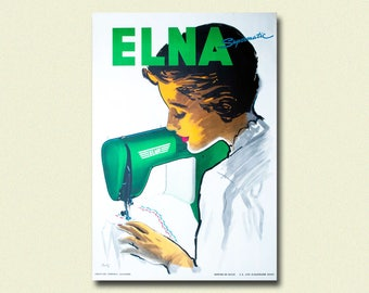 Elna Sewing Machine Advertising Print 1950 - Elna Print Vintage Advertising Poster