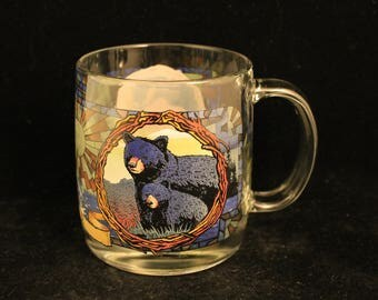 Vintage Maine Stained Glass Wildlife Mug Bears Moose