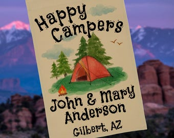 Ready to Ship, Happy Campers Tent Camping Personalized Campsite Flag or Wall Hanging, Camping Sign, Campsite Sign, Stand NOT Included
