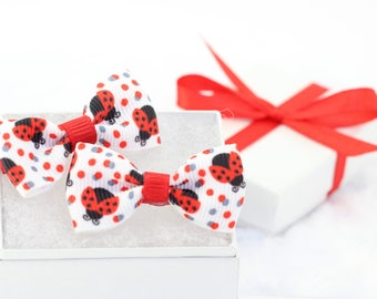 Ladybug Infant Hair Clip Set, Baby Girl Hair Bows, Red Black White Itty Bitty Ladybugs Hair Bows, Gift Wrapped Pair of Infant Hair Clips