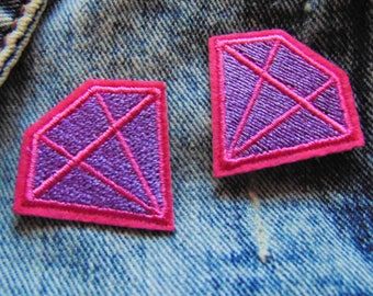 Pink & Purple Diamond Cartoon x 2 Sew Iron on Badge Embroidered Lilac Emoji Applique Cute Custom Clothing Patch  Pop Art Theme Teen Sweet UK