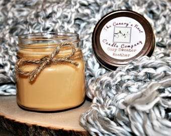 Cozy Sweater Weather Candle   Fall Candles, Soy Candles, Mason Jar Candles, Autumn Candles, Eucalyptus, Juniper Berry, Fresh Sage, Halloween