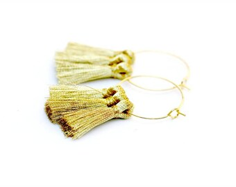 Bollywood Gold Tassel Earrings | India Glam Rustic Gold Tassel Earrings | Boho Wedding Gold Hoop Earrings | Boho Festival Tassel Earrings