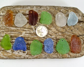 Set of 12 Top Drilled Seaglass Beads Top Drilled Beach GlassSea Glass Pendant Seaglass Charms Drilled Sea Glass