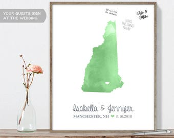 Wedding Guest Book Alternative / New Hampshire Map Illustration / Green Watercolor Map Guestbook Sign In▷Canvas, Paper, Board {or} Printable