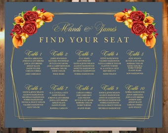 Fall Wedding Seating Chart Sign / Red Rose Flower, Orange Calla Lilly, Floral Sign, Gold Geometric ▷ Printed Paper, Canvas {or} Printable