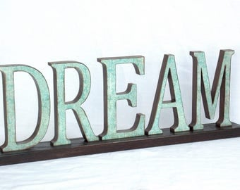 DREAM Sign - Wooden Word Sign - Word Letters - Wood Word - Word Art Sign - Mantle Decor - Words - Word Phrase - Wood Letters - Wood Sign