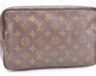 Authentic Louis Vuitton Brown Monogram Canvas Trousse Toilette 28 Pochette Unisex Clutch Cosmetic Bag Vintage Louis Vuitton Purse