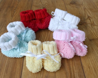Fluffy Baby Booties Fleecy Booties Soft Baby Shoes Pastel Booties Baby Slippers Soft Baby Booties Baby Clothing New Baby Gift Baby Shower