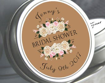 12 Bridal Shower Mint Tins, Personalized Mint Favor Mint to Be Wedding Favor Personalized Bridal Shower Favor, Mint Tin Favors. White Roses